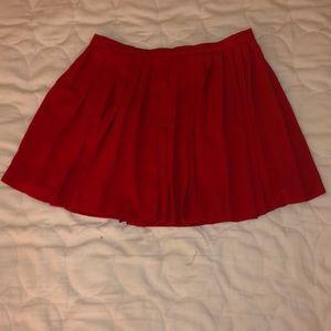 red pleated skater skirt